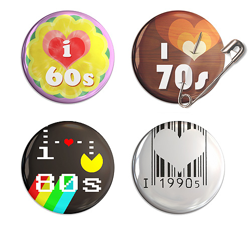 Music pin badges: Music by decade