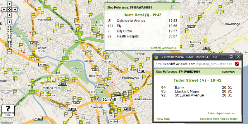 Cardiff Bus live departures map