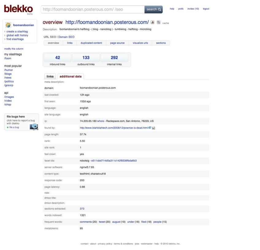 Blekko — SEO features
