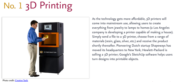 Predictions for 2011 - 1: 3D Printing