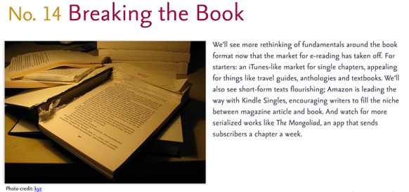 Predictions for 2011 - 14: Breaking the Book