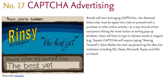 Predictions for 2011 - 17: Captcha Ads