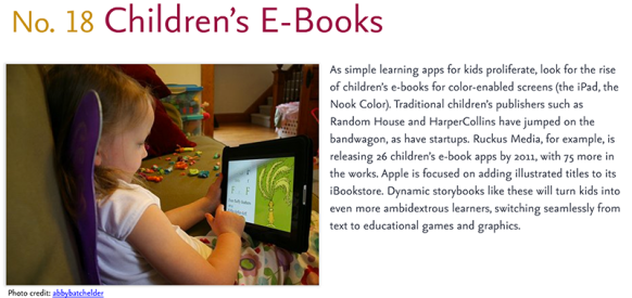 Predictions for 2011 - 18: Kids E-books