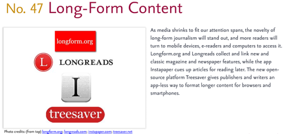 Predictions for 2011 - 47: Long-Form Content