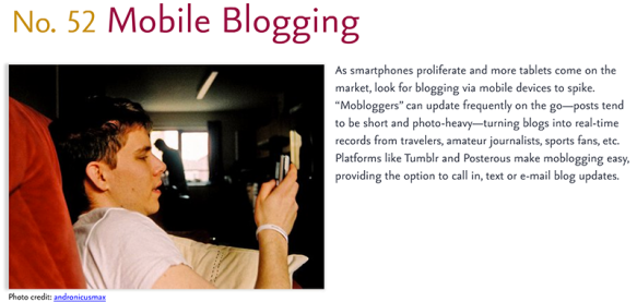 Predictions for 2011 - 52: Mobile Blogging
