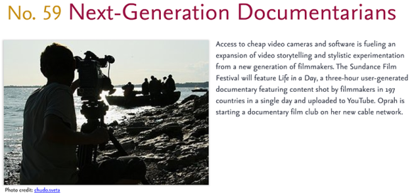 Predictions for 2011 - 59: Next-Generation Documentarians