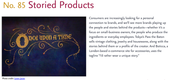 Predictions for 2011 - 85: Storied Products