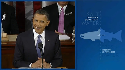 State of the Union infographics - Obama's Salmon joke