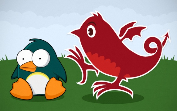 Cartoon penguin meets Twitter dragon.