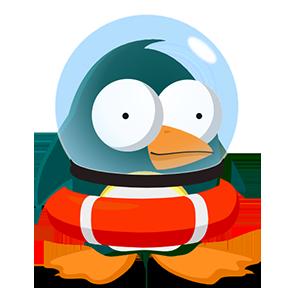 Cartoon penguin in life preserver and goldfish bowl helmet.