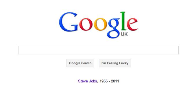Google's Steve Jobs homepage tribute