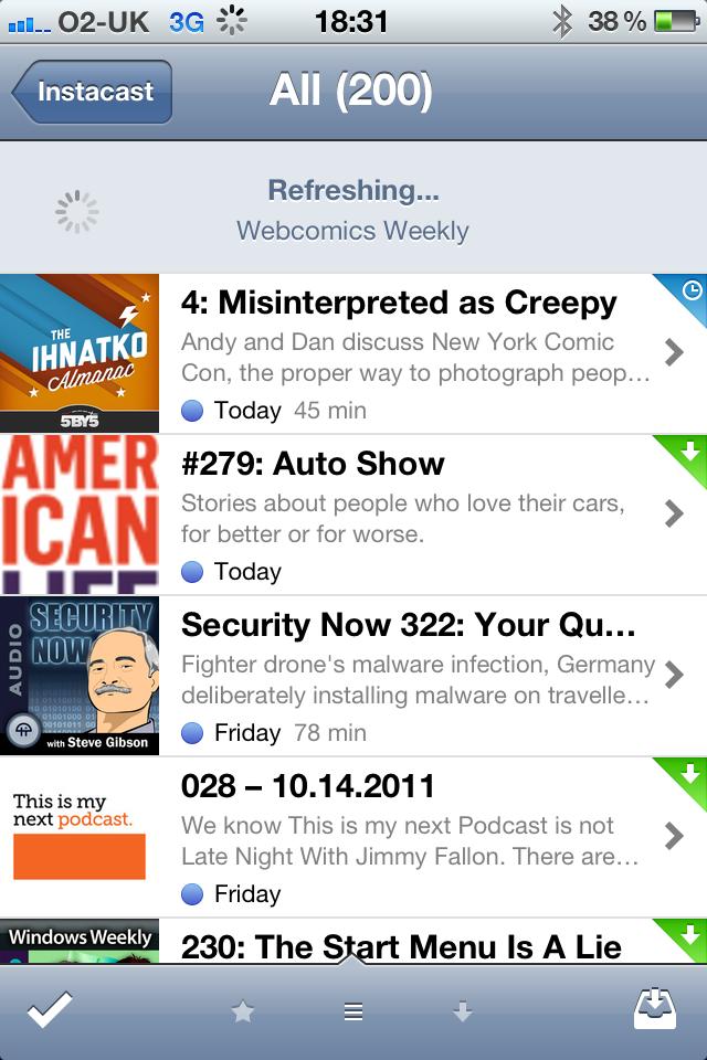 Instacast iPhone app, screenshot