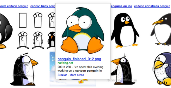 'cartoon penguin' in Google image search - September 2009
