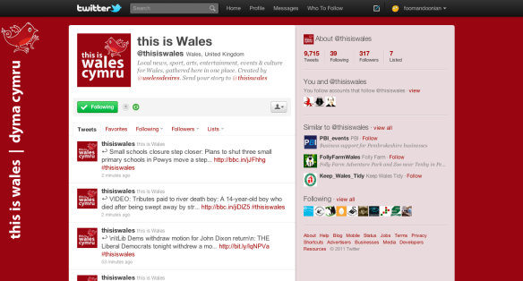 Twitter page for @thisiswales, 5 July 2011
