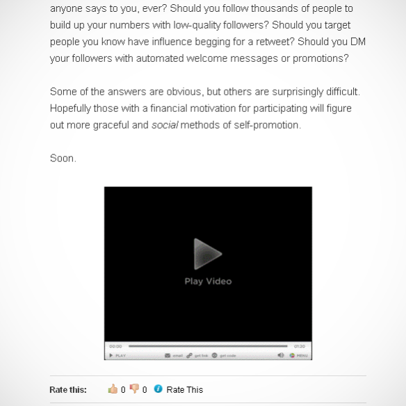 Advertisement disguised as a video player on my WordPress.com blog