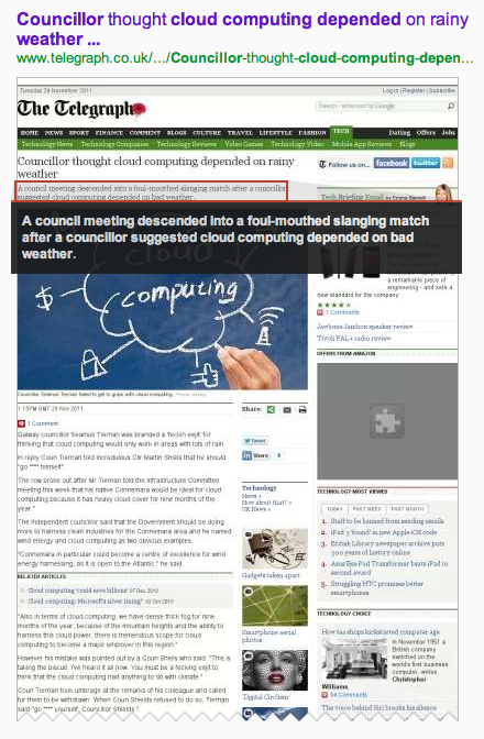 Google's cache of the Telegraph's 'Councillor thought cloud computing depended on rainy weather' story.