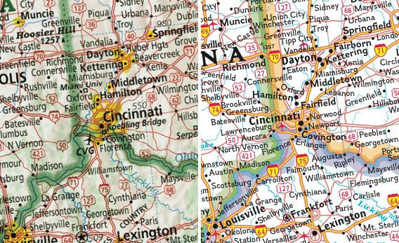 Left: Imus map of Cincinnati. Right: National Geographic map of Cincinnati