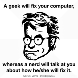 A geek will fix your computer, whereas a nerd will talk at you about how he/she will fix it.