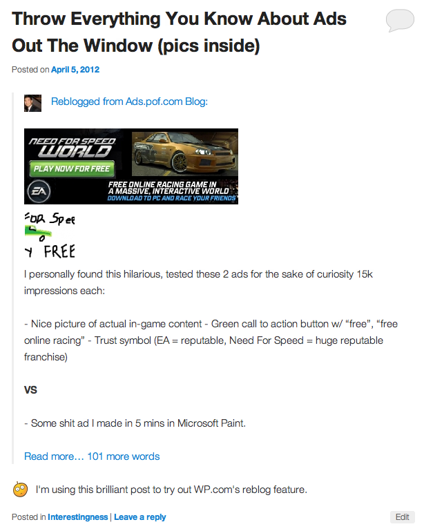 WordPress.com reblogged post example