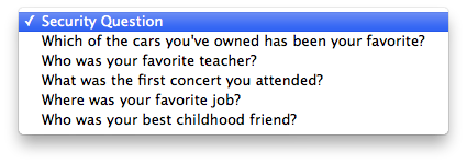 Apple security questions