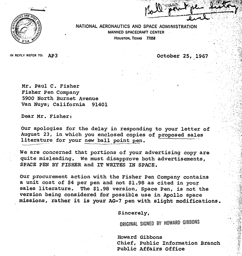 NASA disapproval of Fisher marketing material, 1967