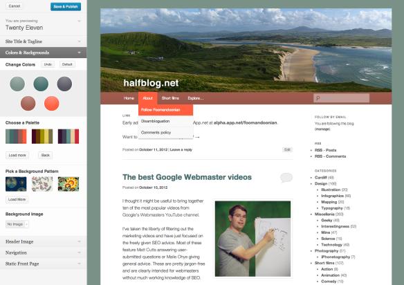 WordPress.com custom colours