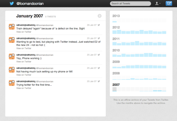 My tweets from January 2007