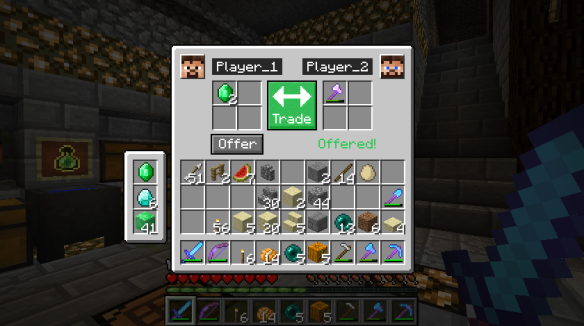 Minecraft trading interface mockup