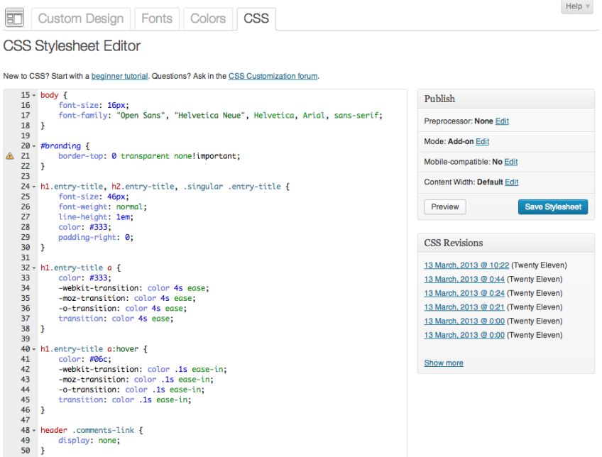 Custom Design: CSS