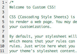 welcome to custom css