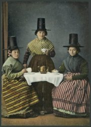 Postcard of Welsh ladies in costume drinking tea